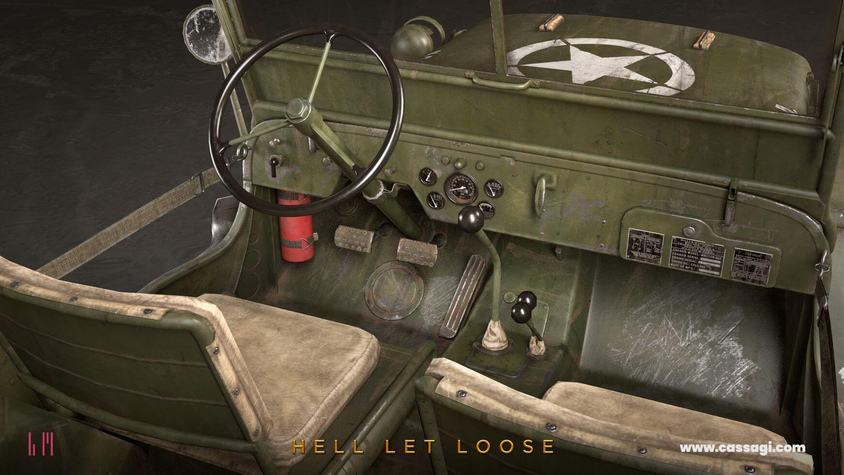 hell let loose Jeep Willis in game model interior detail