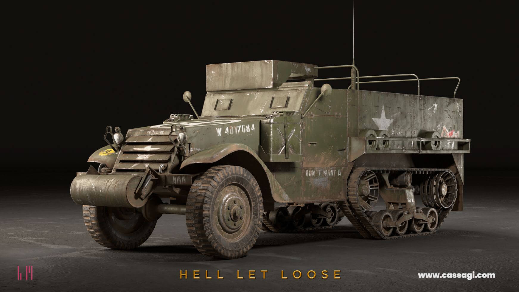 hell let loose M3 halftrack in game model