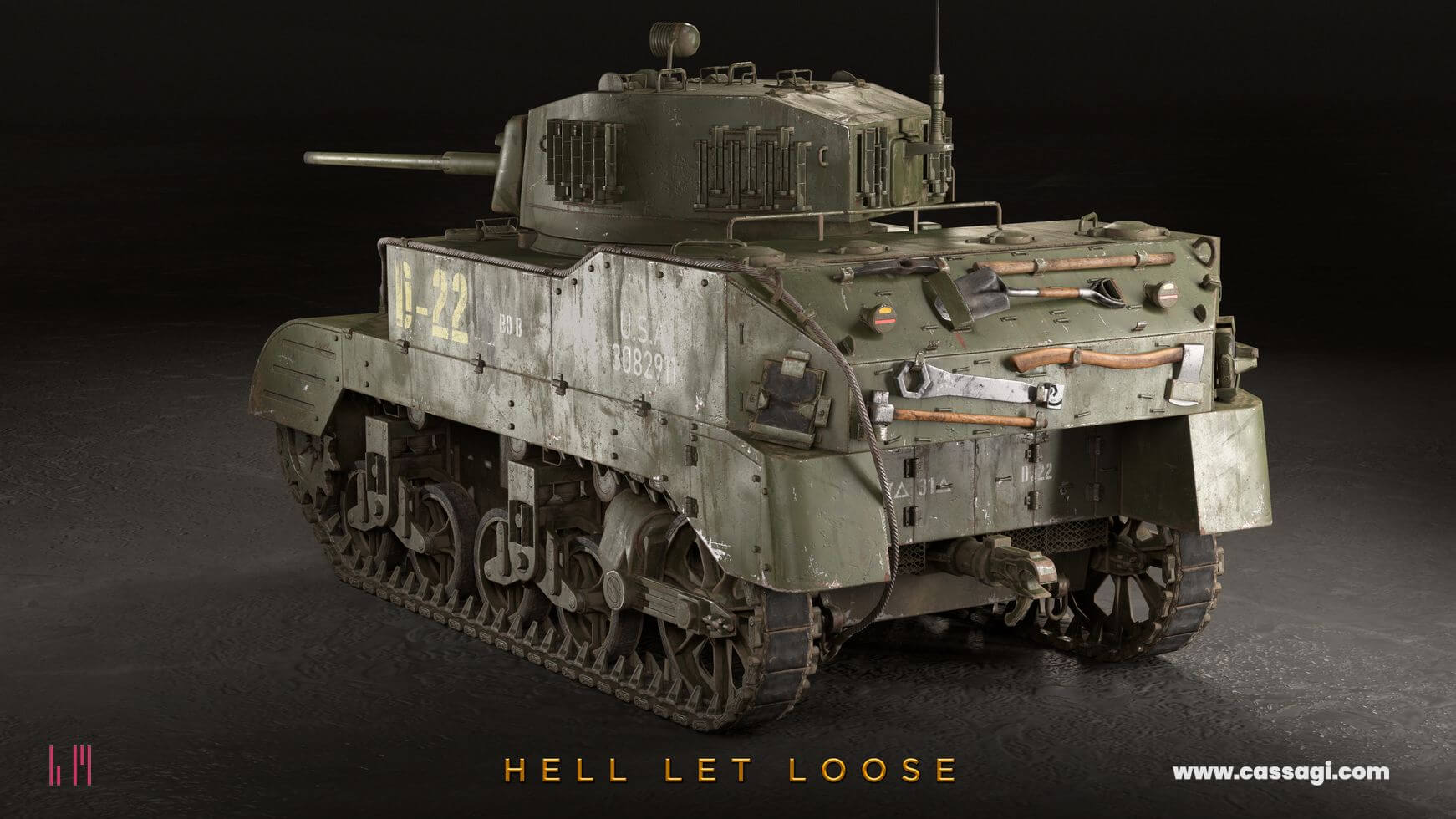 hell let loose M5A1 Stuart in game model