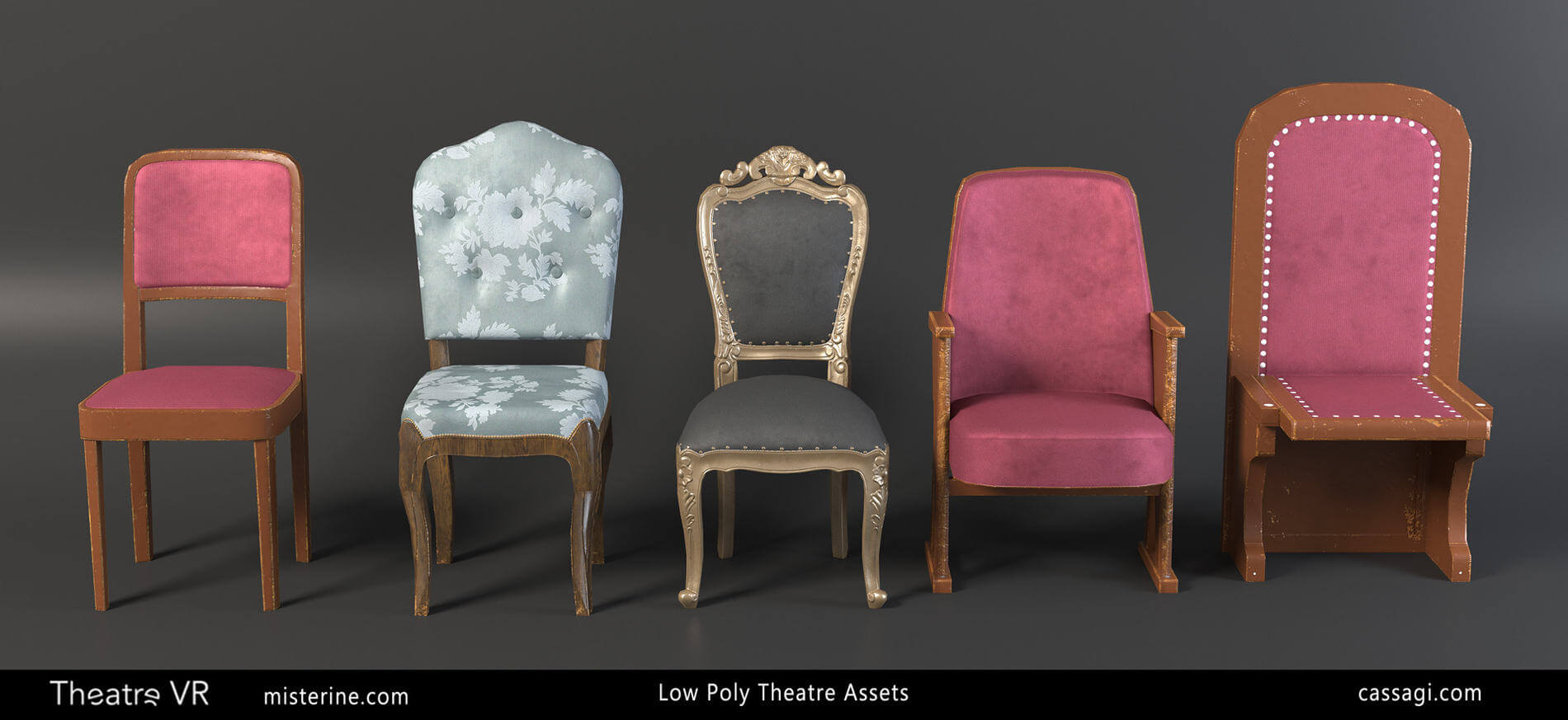 Theatre VR interior game environment furniture assets
