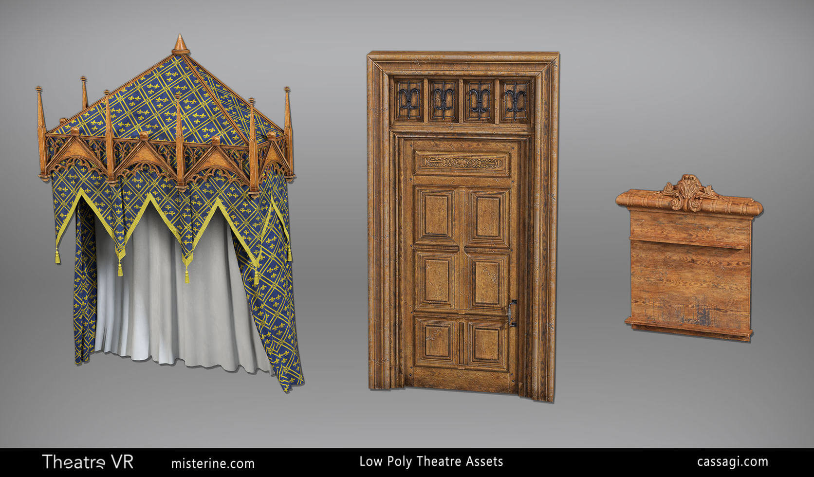 Theatre VR interior game environment props assets