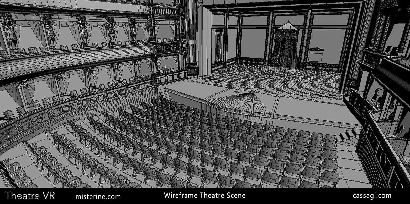 Theatre VR interior game environment wire