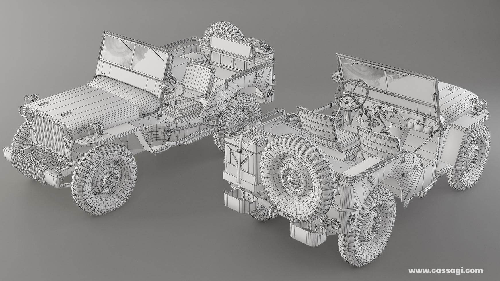 jeep willis mid poly wire model